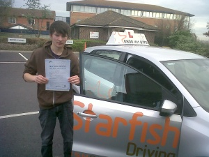Will with his Driving Test Pass Certificate outside Weston-super-Mare Driving Test Centre