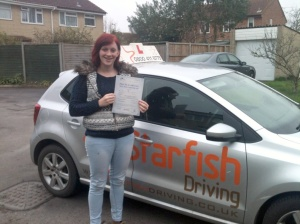 Emily with her Practical Driving Test Pass Certificate somewhere in Burnham-on-Sea