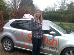 Lucy with her Practical Driving Test Pass Certificate somewhere in Somerset.