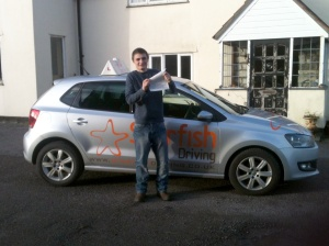 Stephen with his Practical Driving Test Pass Certificate somewhere near Mark!
