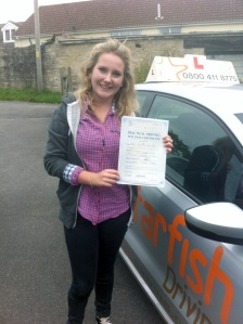 Jenni with her Driving Test Pass Certificate somewhere in Somerset!