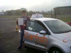 Andrew with his Practical Driving Test Pass Certificate in Weston-Super-Mare
