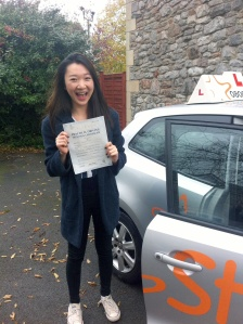 Sunny with her Practical Driving Test Pass Certificate in Cheddar