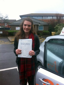 Elizabeth with her Practical Driving Test Pass Certificate outside Weston-super-mare Driving Test Centre.