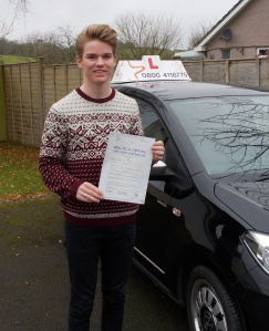Jack with his Practical Driving Test Pass Certificate somewhere in Weare
