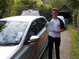 Ross with his Practical Driving Test Pass Certificate somewhere in Compton Bishop.