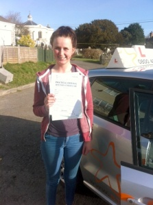 Rachel with her Practical Driving Test Pass Certificate somewhere in Blackford.