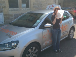 Beth with her Practical Driving Test Pass Certificate.