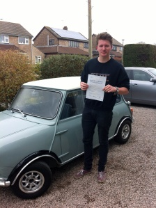 Harry with his Practical Driving Test Pass Certificate somewhere in Winscombe.