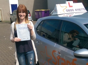 Jade with her Practical Driving Test Pass Certificate in Weston-super-mare