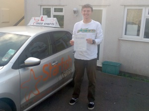 George with his Practical Driving Test Pass Certificate somewhere in Weston-super-mare
