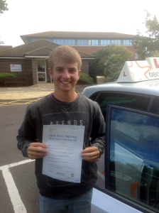 Will with his Practical Driving Test Pass Certificate outside Weston-super-Mare Driving Test Centre