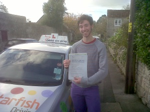 Cam with his Practical Driving Test Pass Certificate in Cossington