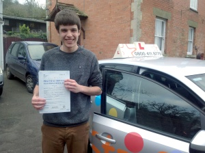 Ben with his Practical Driving Test Pass Certificate somewhere in Brent Knoll
