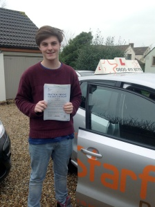 James with his Practical Driving Test Pass Certificate somewhere in Ston Allerton