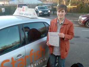 Joe with his Practical Driving Test Pass Certificate somewhere in Cheddar.