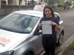 Penny with her Practical Driving Test Pass Certificate somewhere in Weston-super-mare.