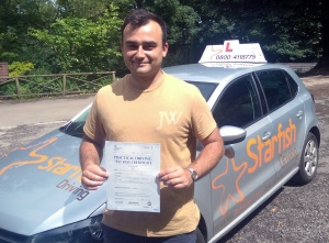 Damien with his Practical Driving Test Pass Certificate somewhere in Winscombe