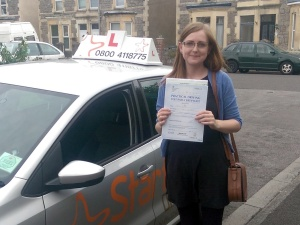 Jodie with her Practical Driving Test Pass Certificate somewhere in Weston-super-Mare