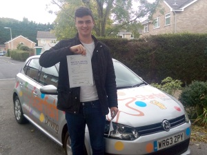 Ashley with his Practical Driving Test Pass Certificate