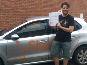 Rich with his Practical Driving Test Pass Certificate somewhere in Weston-Super-Mare