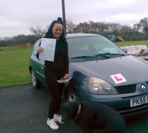 Georgie with her Practical Driving Test Certificate somewhere in Congresbury