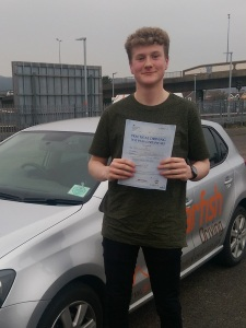 Jake with his Practical Driving Test Pass Certificate in Weston-super-mare.