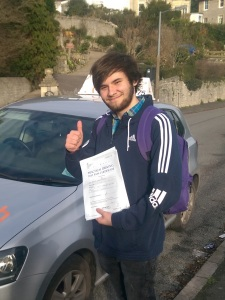 Joe with his Practical Driving Test Pass Certificate in Weston-super-mare